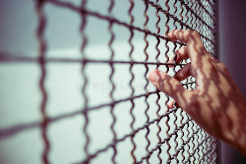 Ręka więźnia mienia metalu nieociosany ogrodzenie z deseniowym cieniem, przestępca blokował w więzieniu, sen wolności pojęcie obraz stock