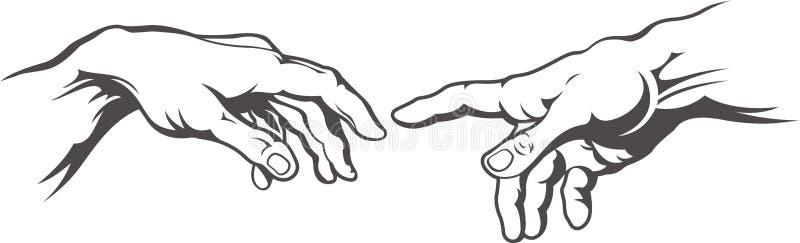 Ręka wręczać tatuaż adam tworzenie Fresku obraz Michelangelo royalty ilustracja
