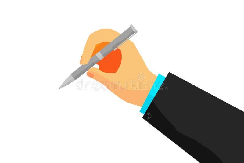 Ręka - Writing Coś z piórem ilustracja wektor