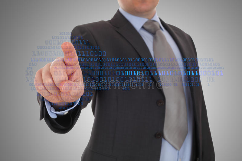 Ręka wskazuje binarnych kody, cyfrowy ekran sensorowy obrazy royalty free