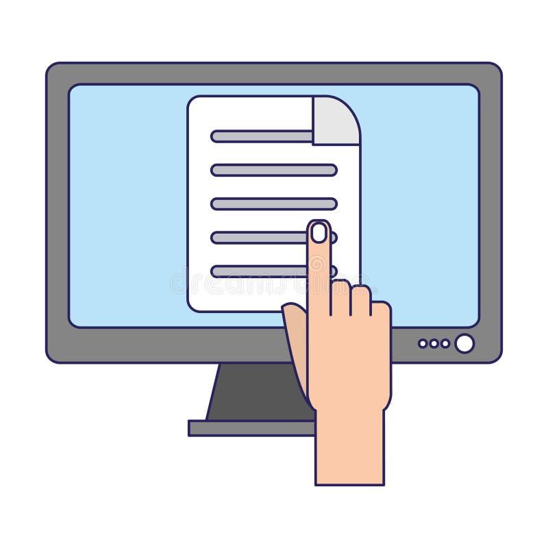 Ręka wskazuje ekran komputerowy niebieskie linie ilustracji