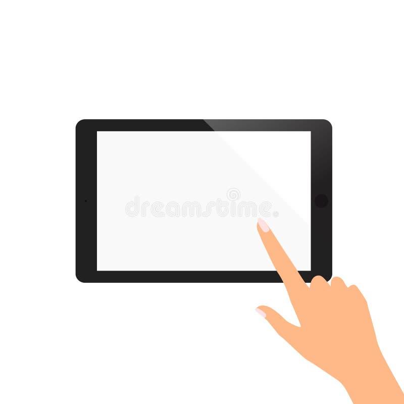 Ręka wskazuje na pustego ekranu pastylce kobieta zdjęcia stock