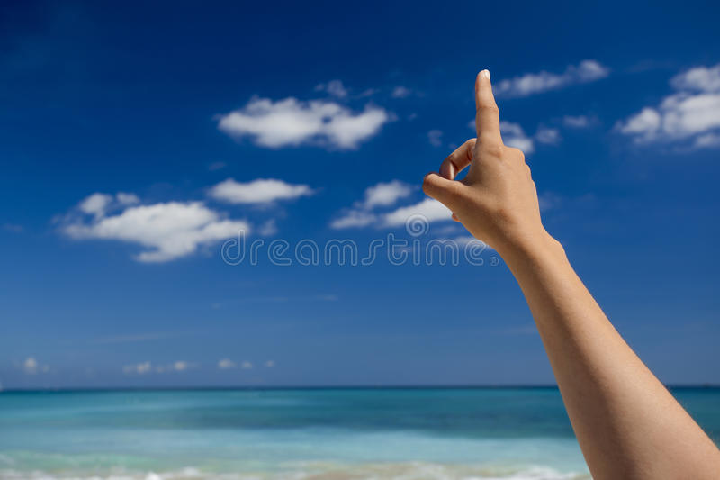 Ręka wskazuje niebo obrazy royalty free