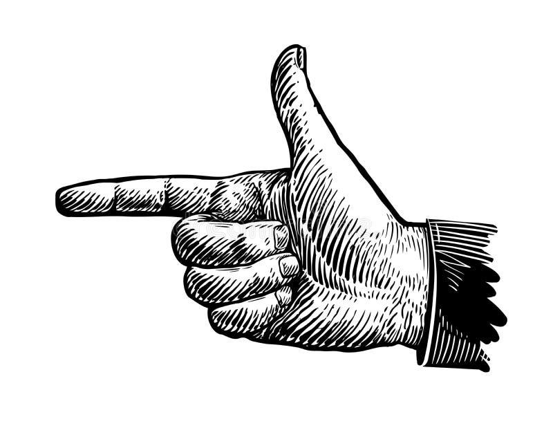 Ręka, wskazuje palec Nakreślenie wektoru ilustracja ilustracja wektor
