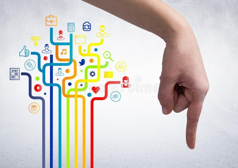 Ręka wskazuje przeciw cyfrowo wytwarzać złączonym ikonom zdjęcie royalty free