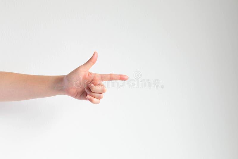 Ręka wskazuje właściwe wskazówki na białym tle fotografia stock