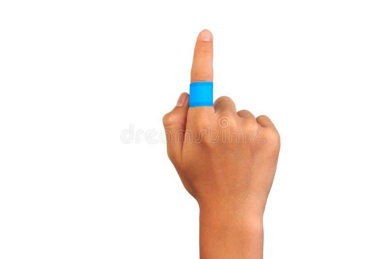 Ręka wskazuje z zdradzonym palcem obrazy stock