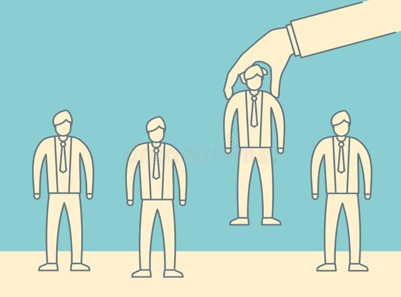 Ręka wybiera mężczyzny od wybranych ludzi grup royalty ilustracja