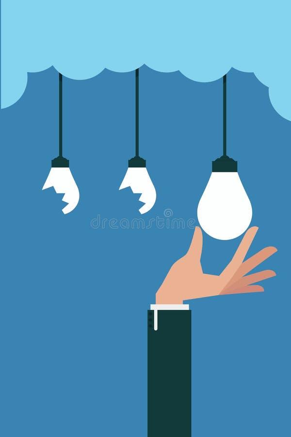Ręka - wyboru pomysłu żarówka royalty ilustracja