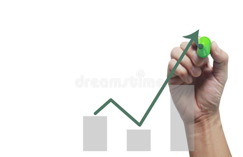 Ręka wzruszający wykresy pieniężny wskaźnik zdjęcia royalty free