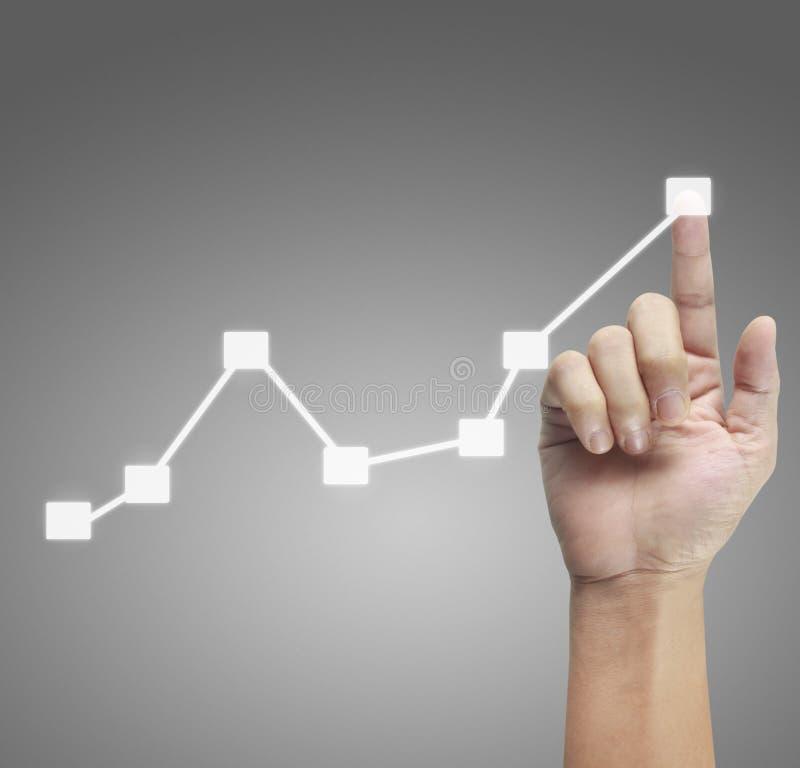 Ręka wzruszający wykresy pieniężny wskaźnik obrazy stock