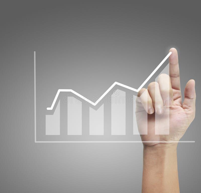 Ręka wzruszający wykresy pieniężny wskaźnik zdjęcie stock