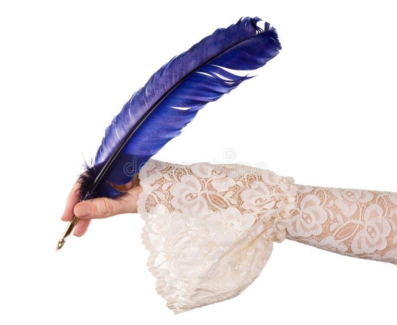Ręka z błękitnym dutki piórkiem obraz stock
