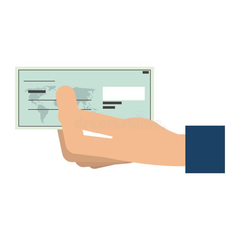 Ręka z banka czekiem ilustracji