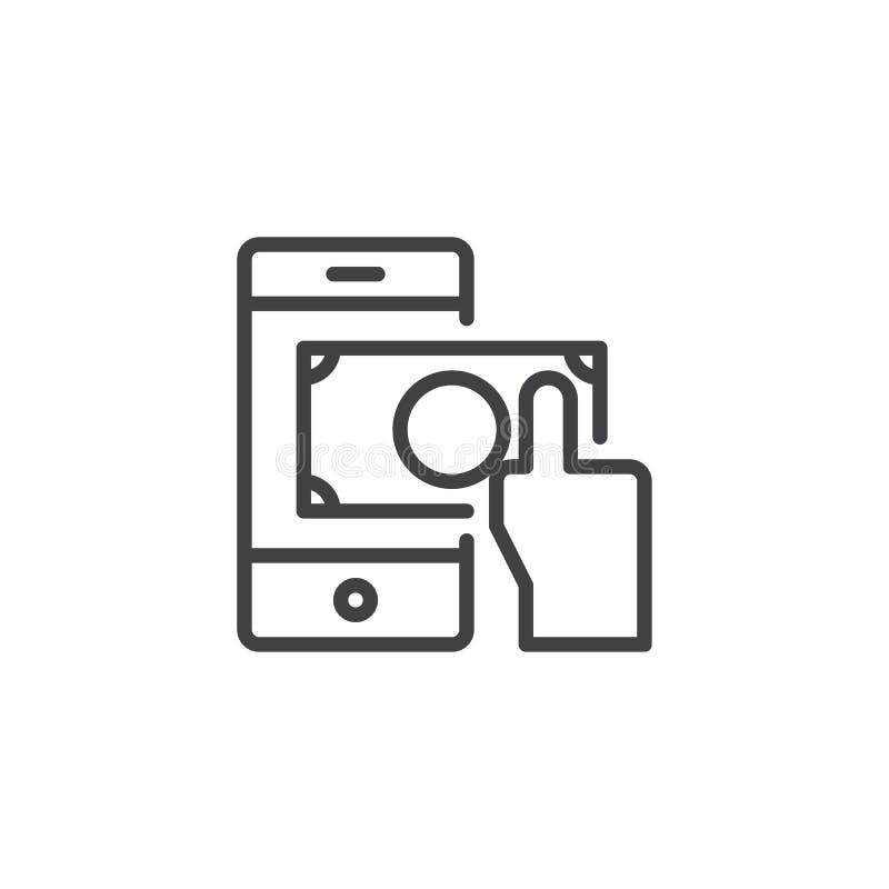 Ręka z dolarową pieniądze i telefonu komórkowego konturu ikoną ilustracja wektor