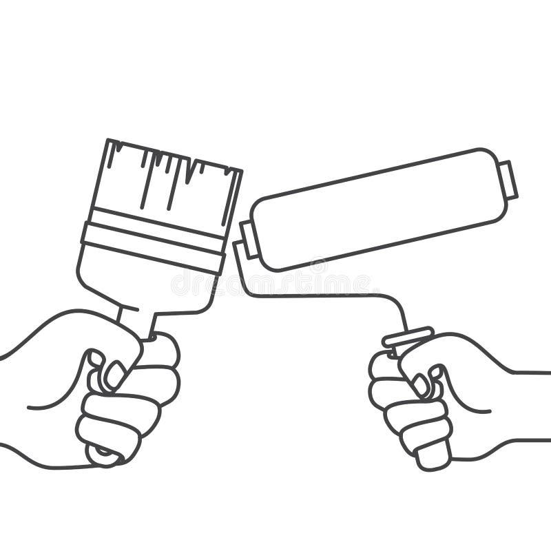 Ręka z farby muśnięciem i farba rolownikiem ilustracji