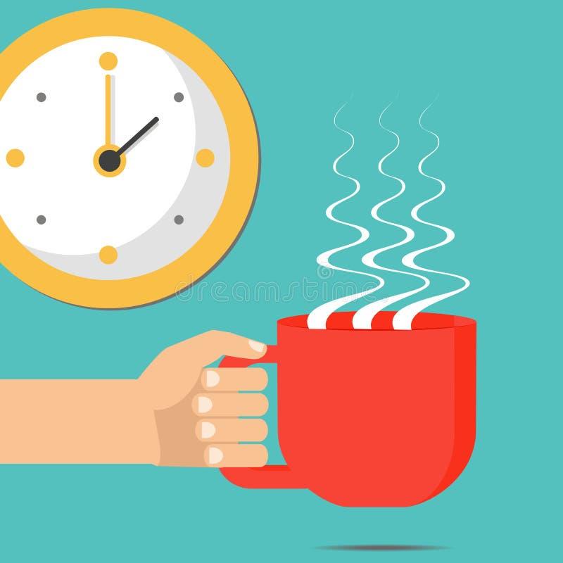 Ręka z filiżanką, kawa lub herbata Wektorowa płaska ilustracja royalty ilustracja