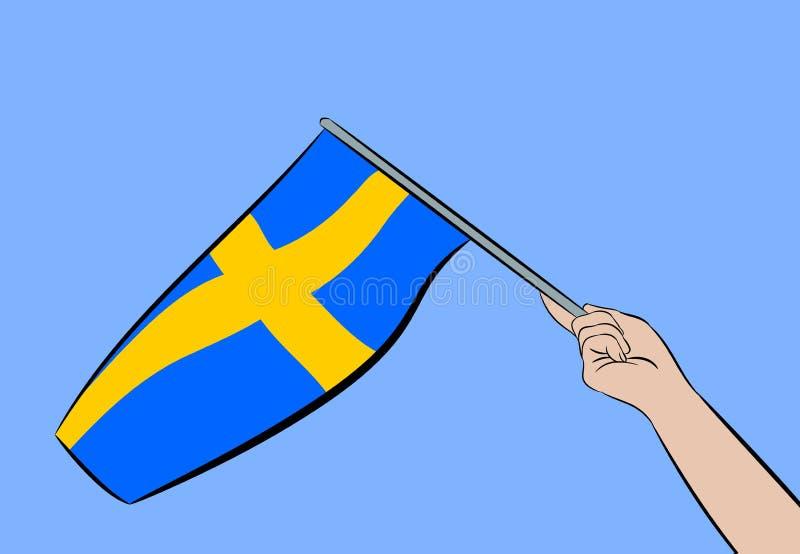 Ręka z flaga Szwecja royalty ilustracja