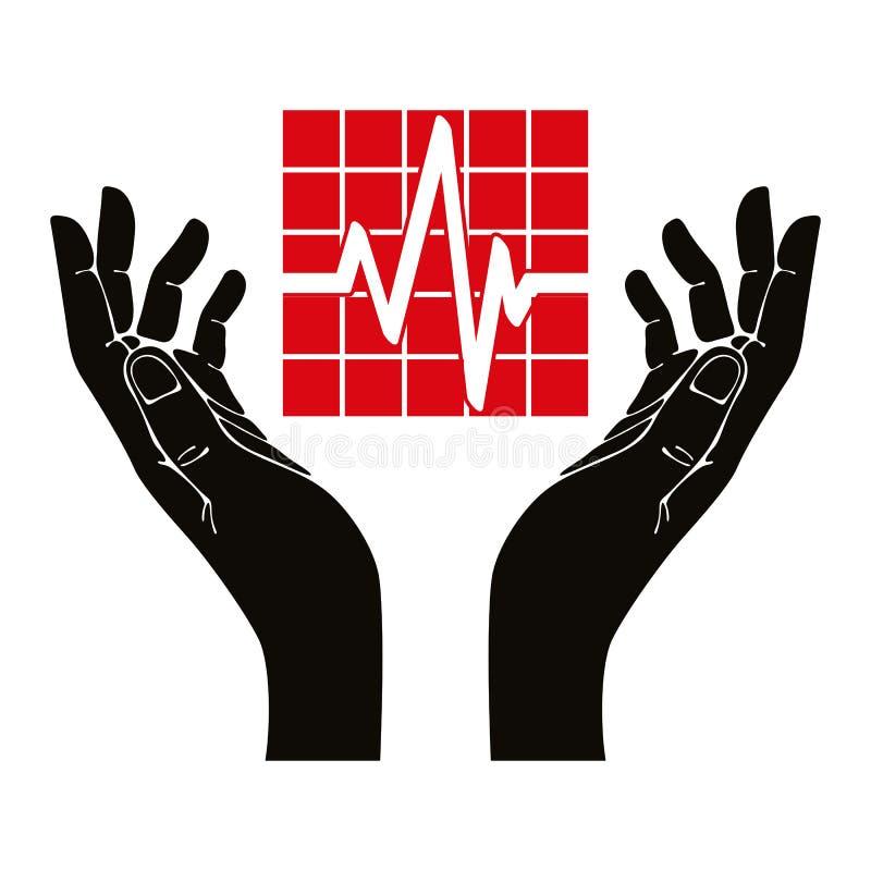 Ręka z kardiograma wektoru symbolem ilustracji
