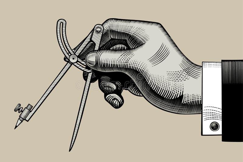 Ręka z kompasem dla rysować ilustracja wektor