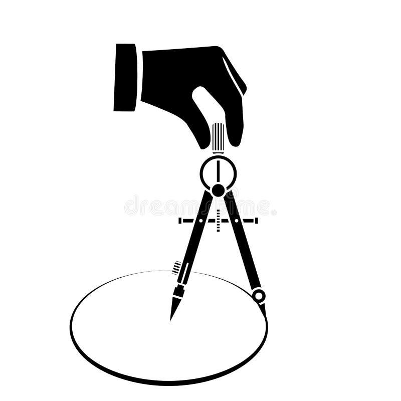 Ręka z kompasem dla rysunkowej sylwetki royalty ilustracja