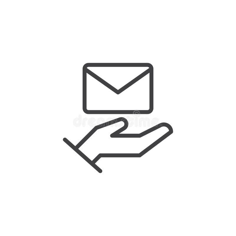 Ręka z kopertową kontur ikoną ilustracji