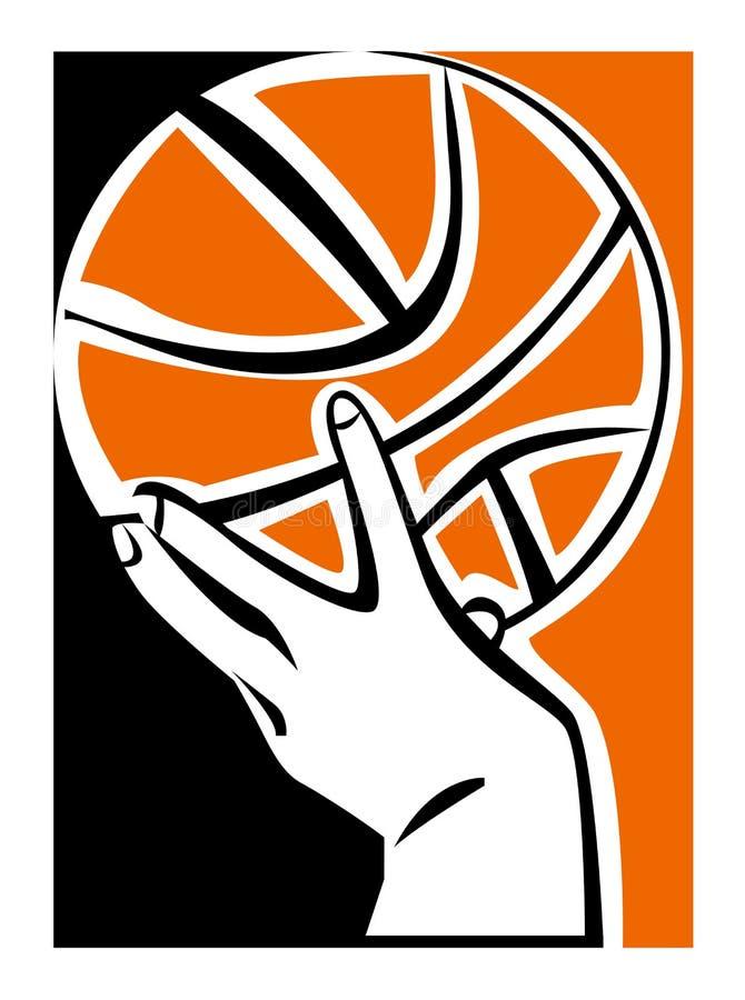 Ręka z koszykówki piłką royalty ilustracja