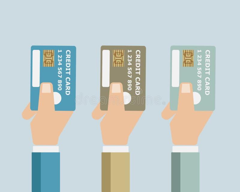 Ręka z kredytową kartą ilustracja wektor