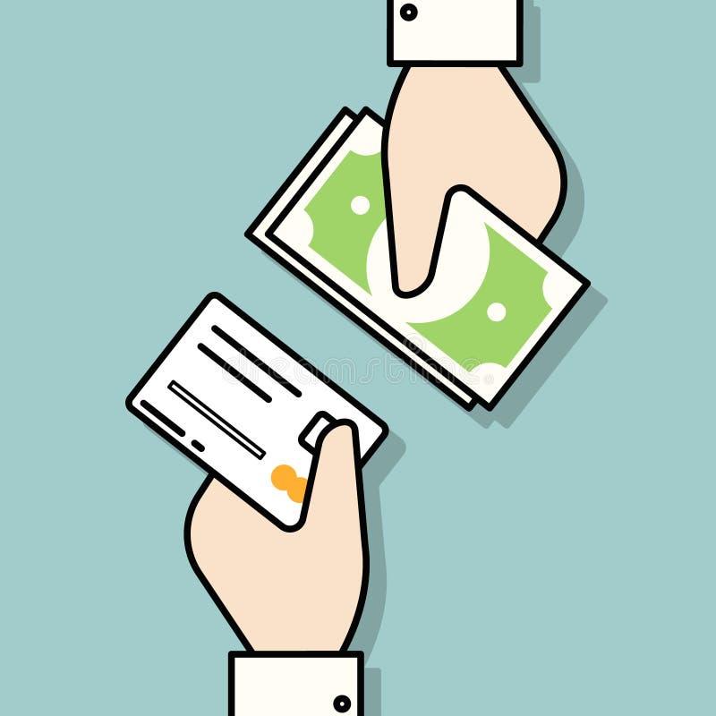 Ręka z kredytową kartą i ręka z gotówkowym pieniądze Płatnicze metody royalty ilustracja