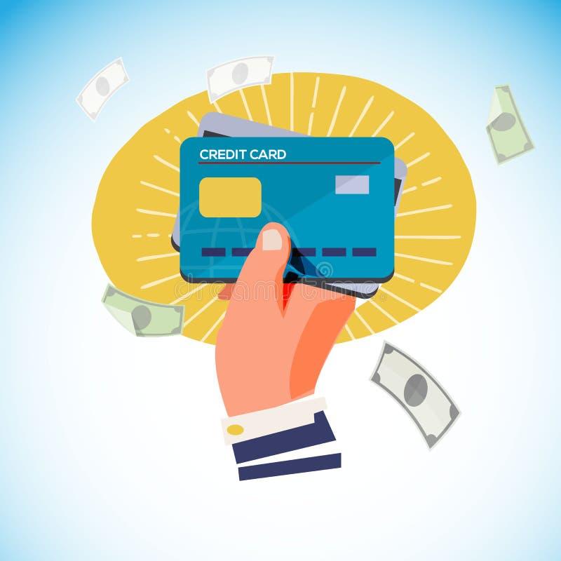 Ręka z kredytową kartą w ręce - ilustracja wektor