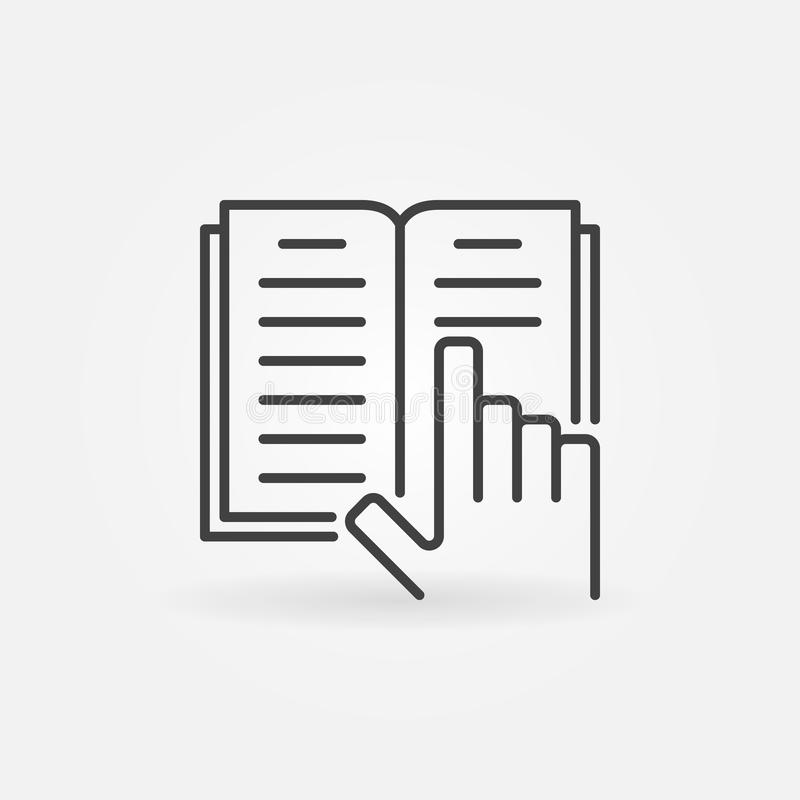 Ręka z książki linii ikoną Wektoru concep otwarty książkowy logo ilustracja wektor