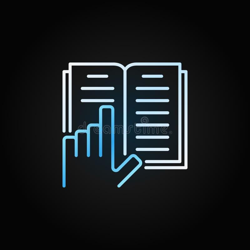 Ręka z książki linii jaskrawą ikoną Wektor książki otwarty znak ilustracji