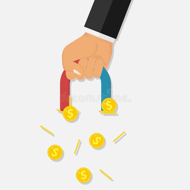 Ręka z magnesem przyciąga złociste monety ilustracja wektor