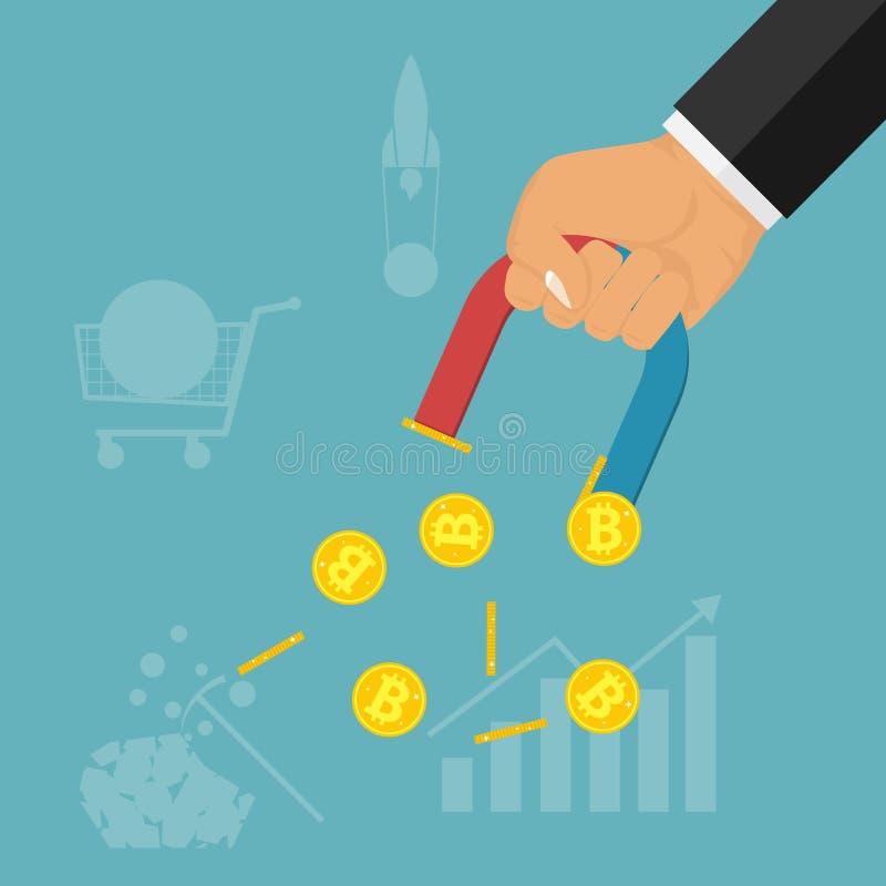 Ręka z magnesem przyciąga złociste monety Ręka trzyma magnes i rysuje bitcoins Pojęcie przyciąganie pieniądze ilustracja wektor
