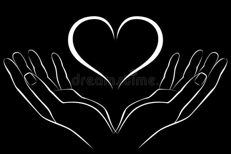 Ręka z miłością ilustracji