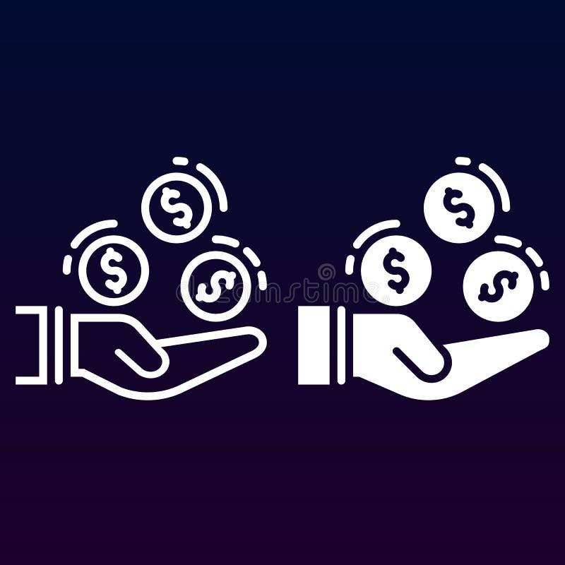 Ręka z monetami kreskowe, stałą ikona, kontur i piktogram odizolowywający na bielu, wypełniający wektoru znaka, liniowego i pełne royalty ilustracja