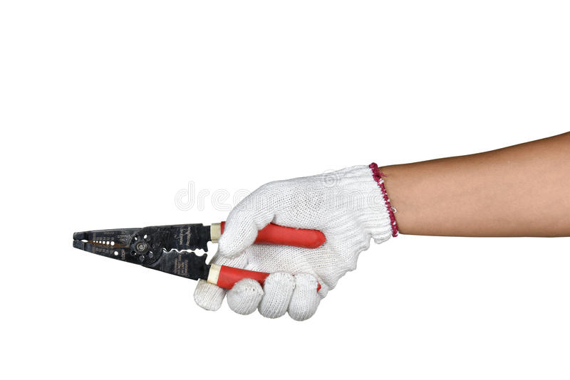 Ręka z ochrony mienia drutu rękawiczkowym obnażaniem i rozcięciem fotografia royalty free