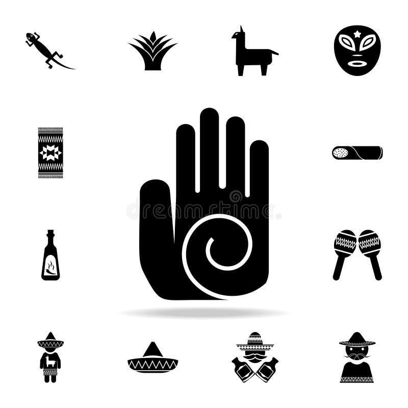 ręka z okrąg ikoną Szczegółowy set elementu Meksyk kultury ikony Premia graficzny projekt Jeden inkasowe ikony dla ilustracja wektor