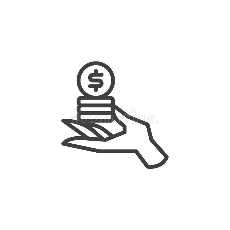 Ręka z palowych monet kreskową ikoną ilustracja wektor