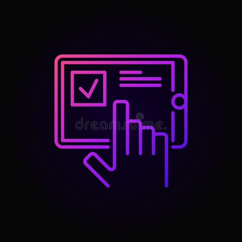 Ręka z pastylką barwił ikonę - wektorowy ankieta symbol royalty ilustracja