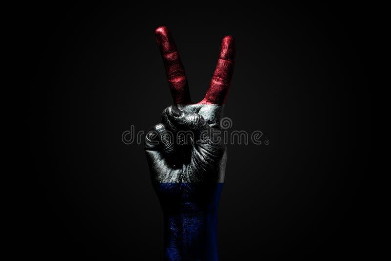 Ręka z patroszoną Francja flagą pokazuje pokoju znaka, symbol pokój, przyjaźń, powitania i peacefulness na zmroku, fotografia stock