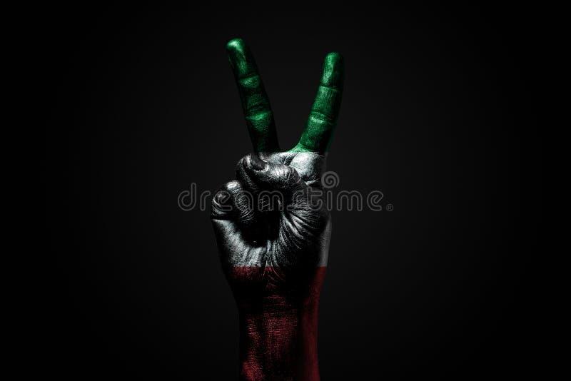 Ręka z patroszoną Włochy flagą pokazuje pokoju znaka, symbol pokój, przyjaźń, powitania i peacefulness na ciemnym tle, obrazy royalty free