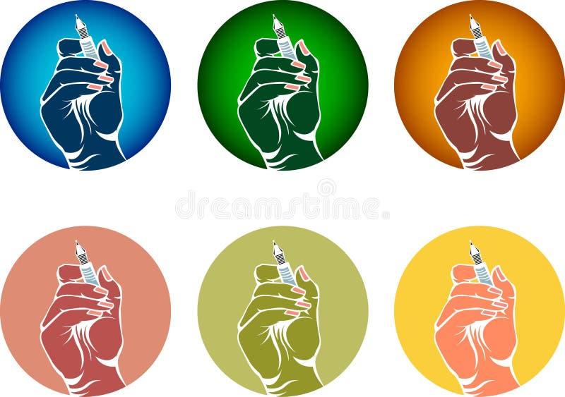 Ręka z piórem royalty ilustracja