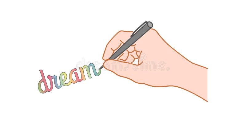 Ręka z piórem pisze słowie ilustracji