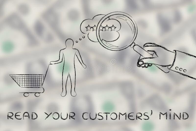 Ręka z powiększać - szkło & tekst Czytamy twój klienta umysł zdjęcie royalty free
