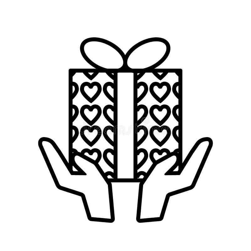 Ręka z prezent linii ikoną Ręki trzyma teraźniejszymi z sercami zawijają wektorową ilustrację odizolowywającą na bielu Pakunku ko ilustracji