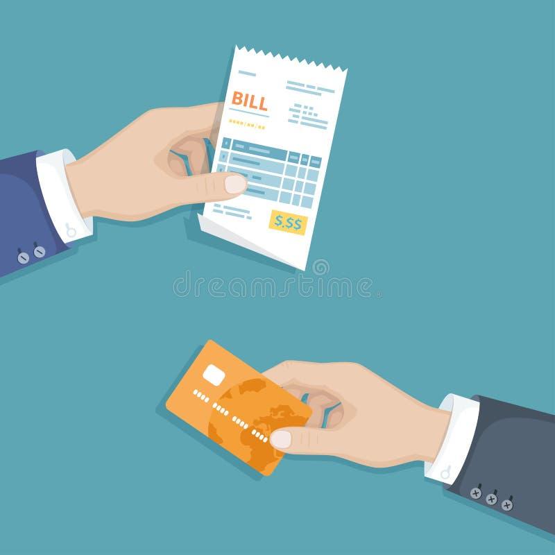 Ręka z rachunkiem i kredytową kartą Ilustracyjne sprzedaże robi zakupy czeka, kwit, faktura, rozkaz Płacić rachunki Zapłata towar royalty ilustracja