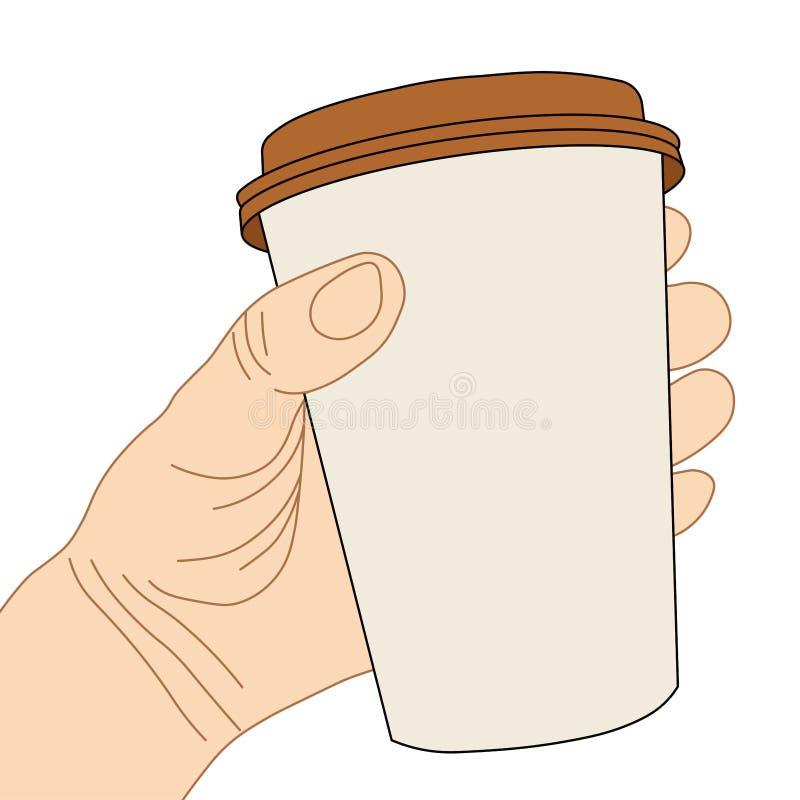 Ręka z rozporządzalną filiżanką ilustracji