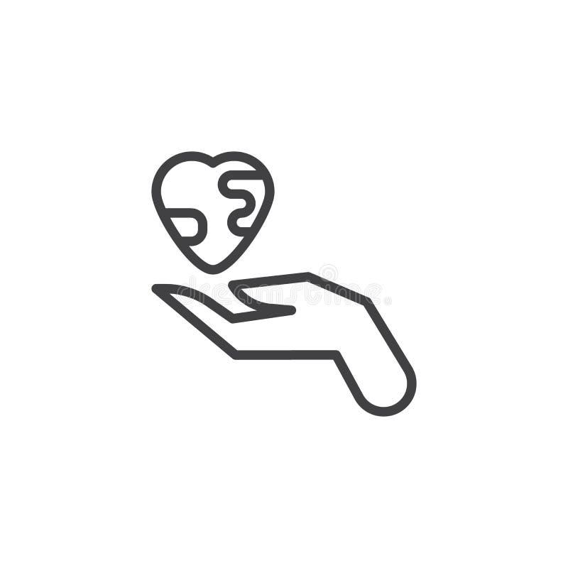 Ręka z serce ziemi linii ikoną royalty ilustracja