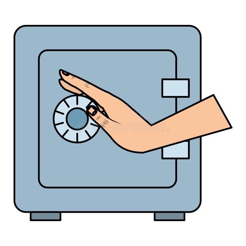 Ręka z skrytki pudełkiem ilustracja wektor